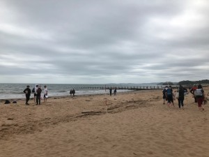 Year 10 students investigating long shore drift at Dawlish Warren, July 2018.