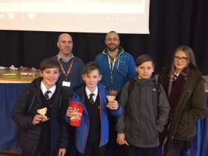 Blue Population (and Race-Off) winners Jonny, Owen, Lorenzo and Maya with Dr Turl and Mr Hewlett