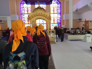 Walking up to see th Guru Granith Sahib