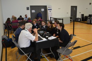 There are discussions with a panel of engineers and privately with the judges