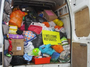 Van full of donations for refugees in Greece