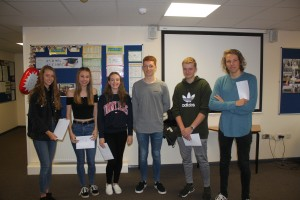 (L to R) Holly Bunkum, Megan Parsons, Isabel Worrall, Reece Davies, James Vallance, Charlie Startin.