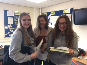 Ella Bashford checks her results with Beth Carter and Megan Farnhill