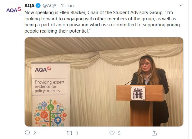 Ellen Blacker - AQA Tweet