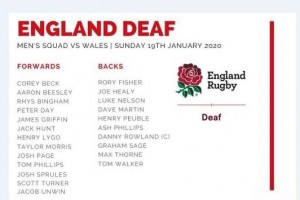Men's England Deaf Rugby Union squad Jan 2020