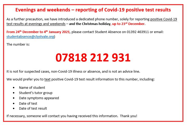 Covid dedicated phone number info
