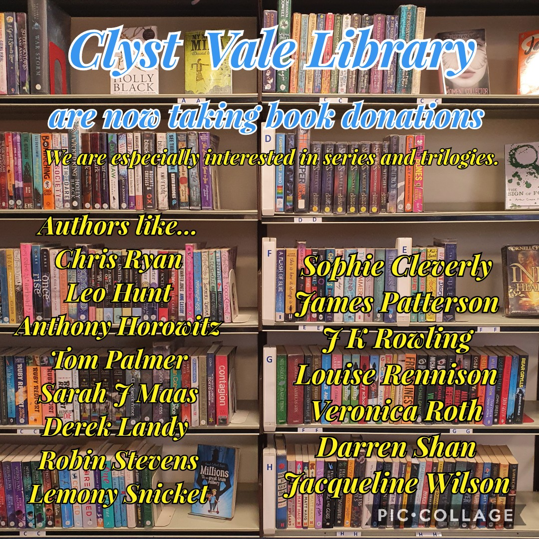 Clyst Vale Library donations poster