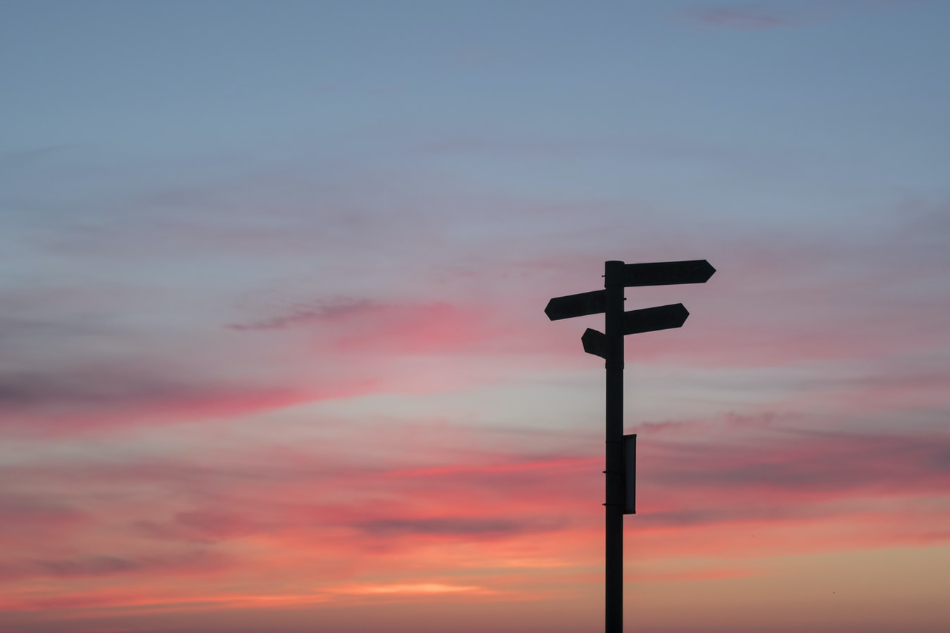 Signpost at sunset